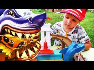 ★ Машинки ХОТ ВИЛС Трек АКУЛА Hot Wheels Track Sharkpark unboxing Hot Wheels Сars Машинки для Детей