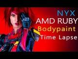 Quake Champions! Ruby as Nyx! Bodypaint Time Lapse + Quakecon 2017!