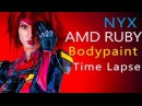 Quake Champions! Ruby as Nyx! Bodypaint Time Lapse Quakecon 2017!