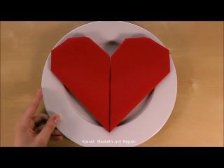 Servietten falten Herz einfache DIY Tischdeko basteln für Hochzeit & Ostern & Geburtstag