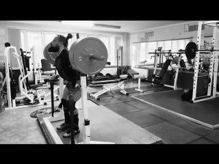 Алексей Никулин приседает 320 кг на 2 раза в наколенных бинтах
