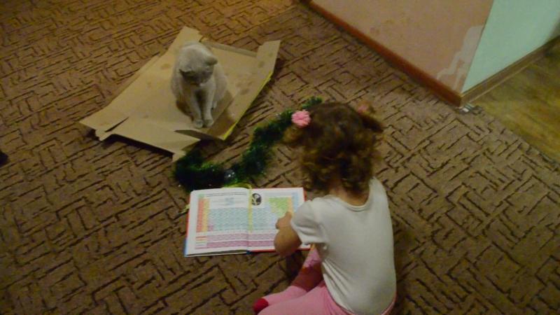 Аня читает кошке дневник тети Полины :))