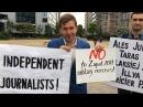 Жыве Кастусь! Жыве Беларусь! У Брусэлі падтрымліваюць журналіста Белсату Пикет в Брюсселе Белсат