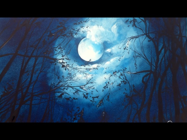 Watercolor Moonlight Painting Demonstration