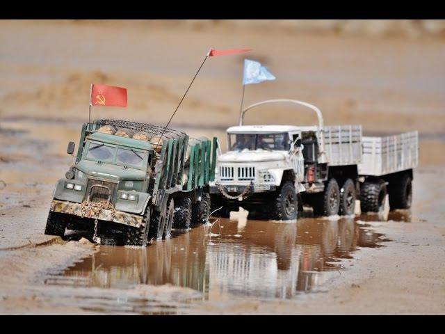 RC AXIAL SCX10 6x6 Kraz-255 logging truck and Zil-131 U.N.