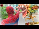 Hombre araña vio la flor Carnívora!Superhéroes Muscular Veneno Joker Diversión Niños Acción Natural