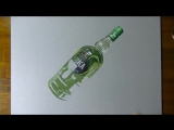 Невероятный 3д рисунок бутылки