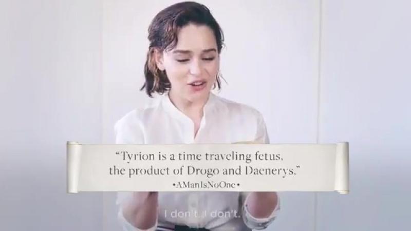 Emilia Clarke lendo teorias bizarras dos fãs!