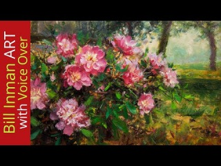 How to Paint a Beautiful Peony Painting by Bill Inman - Fast Motion w Instruction