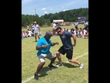 This is what it looks like when me and Luke Kuechly do a football camp together!