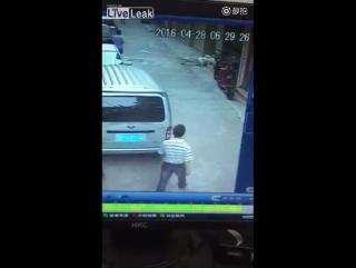 Отец отбивается от трех злобных собак, чтобы спасти сына от их укусов