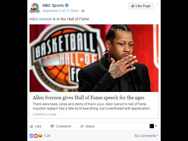 Social Media Posts alot of Love for Allen Iverson and his HOF Speech
