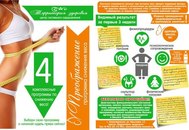 Программа снижения веса, тренировки, программа