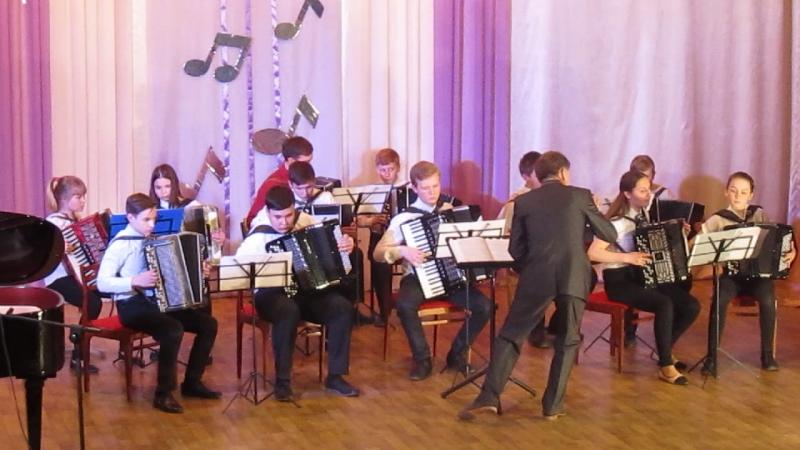 Выступление оркестра баянов и аккордеонов рук. Кузьмин Н. М. старший состав.