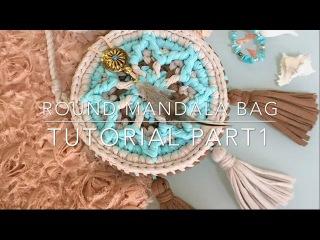 Сумочка мандала, ч1/Tutorial Mandala crochet bag part 1 (t-shirt yarn / trapillo )