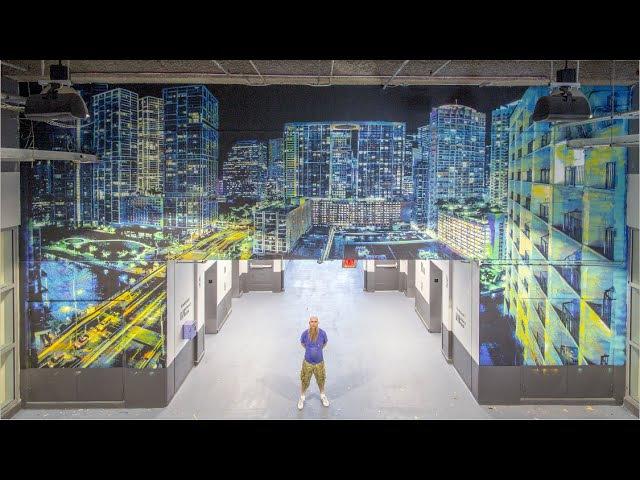 Logan Hicks timelapse of Miami Dolphins Hard Rock Stadium artwork for Goldman Global Arts