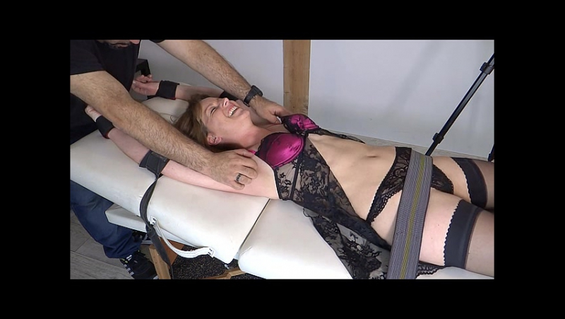 Veronique Endures UpperBody Tickle Torture on the Table