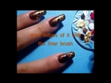Ethnic nail art design - brown and gold by cute nails