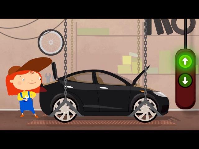 Dibujo animado de Coches. Doctora Mac Wheellie. Un COCHE Eléctrico. Spanish Cartoons