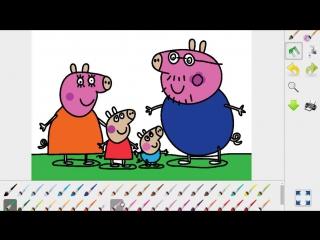 Свинка Пеппа Расскраска Развивающий мультфильм Учим Цвета