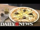 Oro Nero A white pizza with gold and caviar pizza for $20