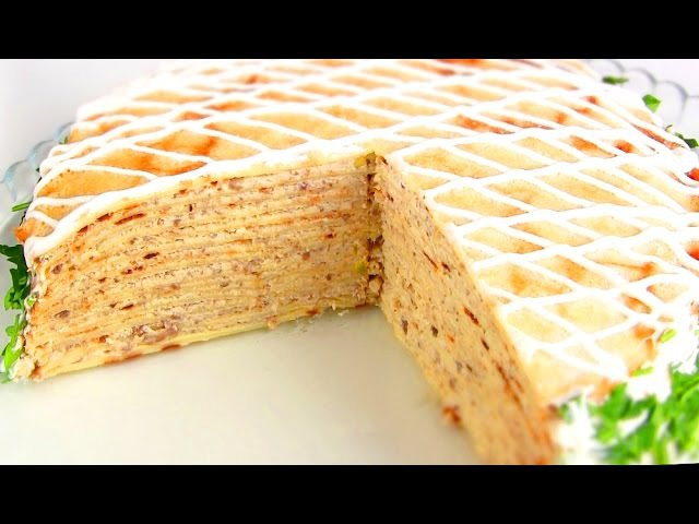 Блинный торт с курицей и грибами Рецепт тонких блинчиков