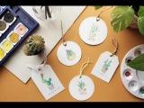 diy watercolor bookmark- draw cactus ~