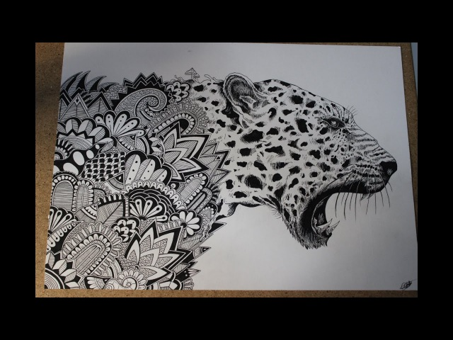 Speed drawing zentangle leopard