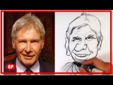 How to Caricature Harrison Ford from Star Wars the Force Awakens - Easy Pictures to Draw