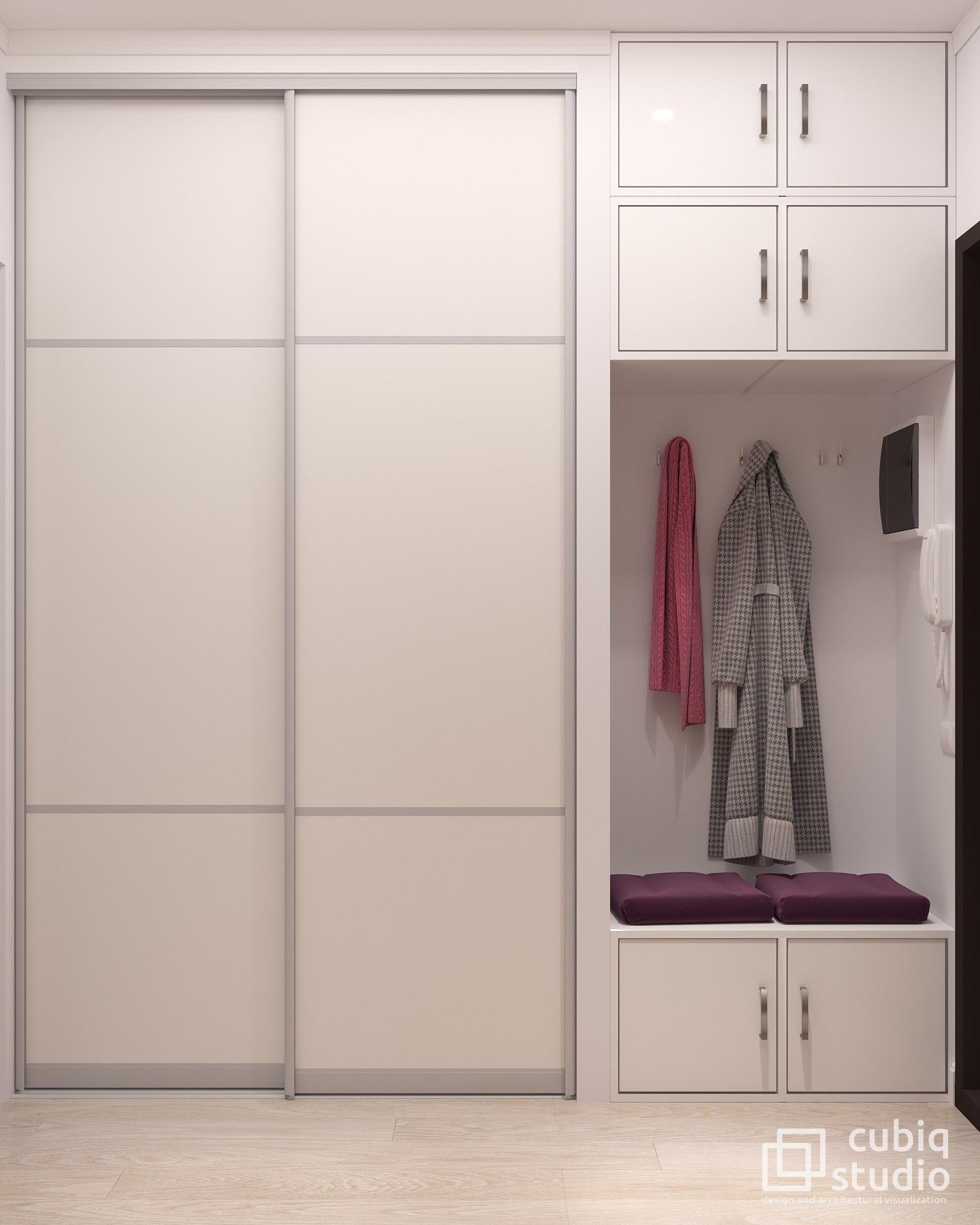 Проект квартиры студии 28 кв м для девушки.