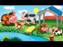 Мультик про животных. Домашние животные и их детки. Мультик для детей 3-4 лет