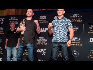 UFC 211 Media Day Staredowns (with commentary) - MMA Fighting ufc 211 media day staredowns (with commentary) - mma fighting