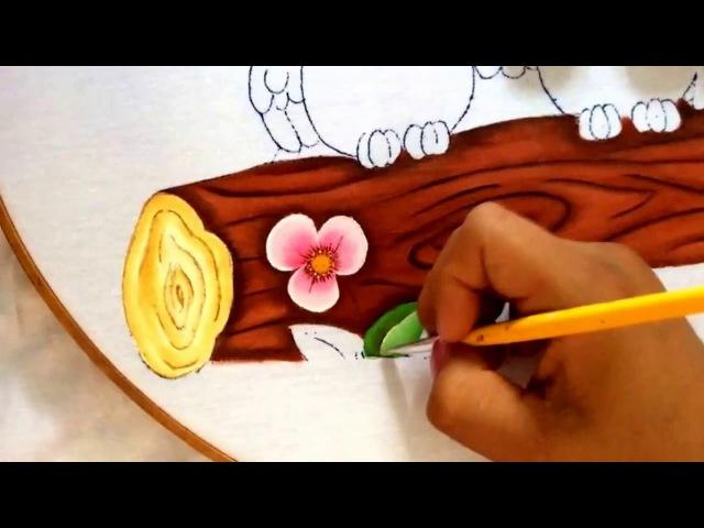 158.- Pintura en tela cesped de buhos