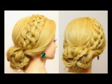 Prom, party updo. Hairstyle for long medium hair.
