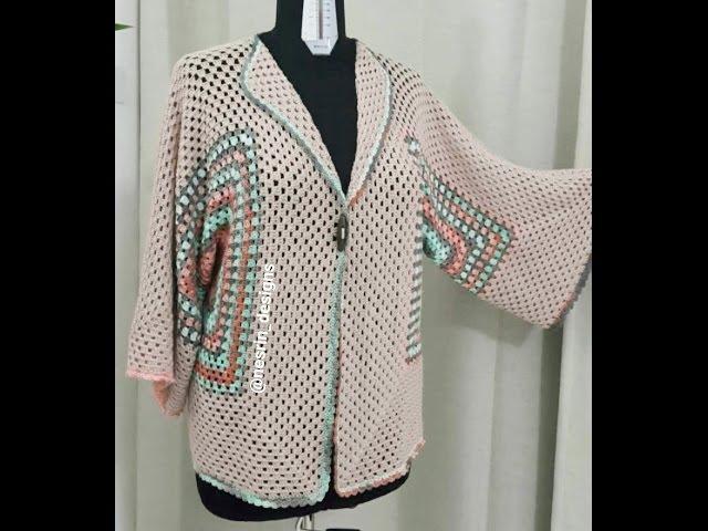 طريقة عمل جاكيت كروشيه نسائي سهل afghan jacket granny square cardigan