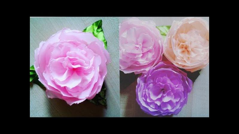 Нежный Пион из Лент/Пион из лент/Peony Ribbon/flowers of the tapes