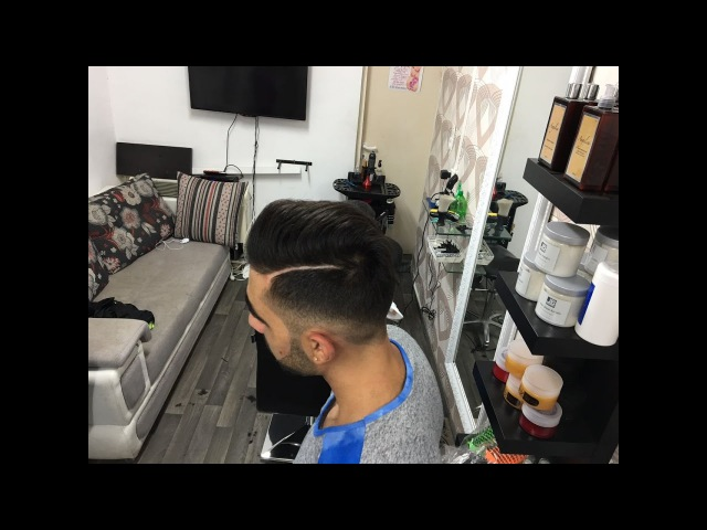 Fade Pompadour Hairstyle Beard Trim - Men's Haircut