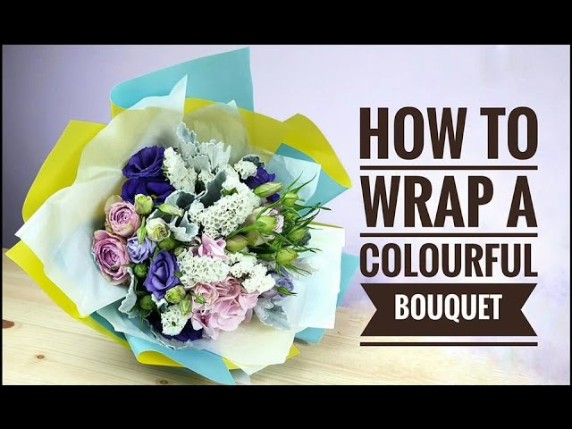 How to wrap a colorful round bouquet