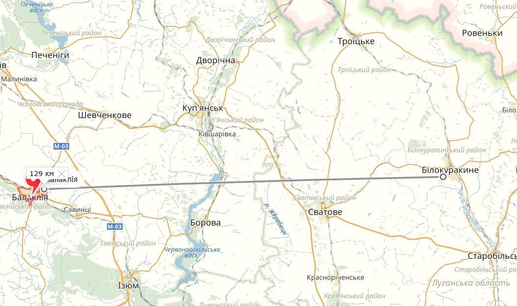 В м. Балаклія Харківська область горять склади з боєприпасами, 23 березня 2017 року, мапа України
