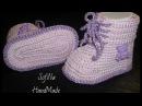 Пинетки крючком/ Вязание для начинающих /Crochet baby booties