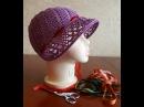 Шапка капор. Шляпка крючком. Шляпка для девочки. (hat crochet)