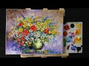 Paint Wild Flowers with Acrylic Paint and a Palette Knife