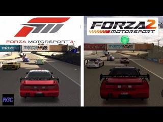 Forza Motorsport 3 vs Forza Motorsport 2 - Realtime NSX @ Laguna Seca Graphics Sound Comparison.