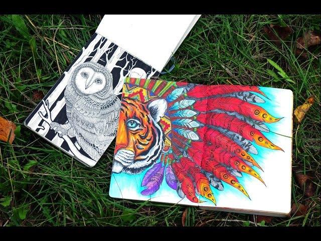 Обзор скетчбуков: мои старые рисунки,артбук и дудлинг/ OLD SKETCHBOOKS/artbooks/drawings