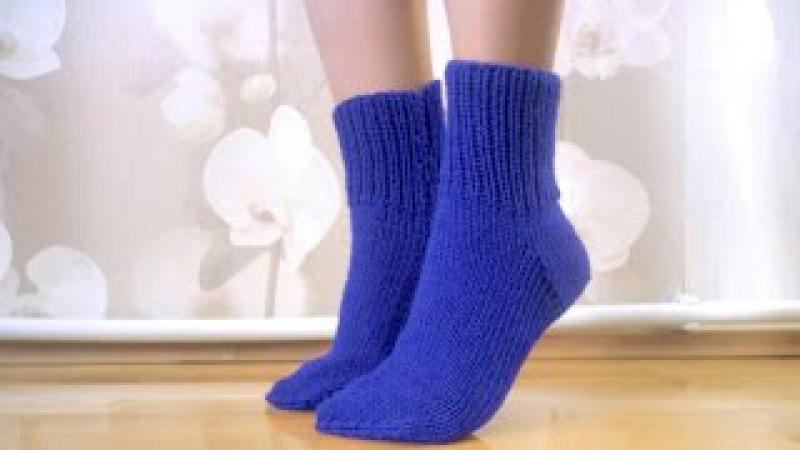 Как связать носки на 5 спицах без швов Вязание носков для начинающих