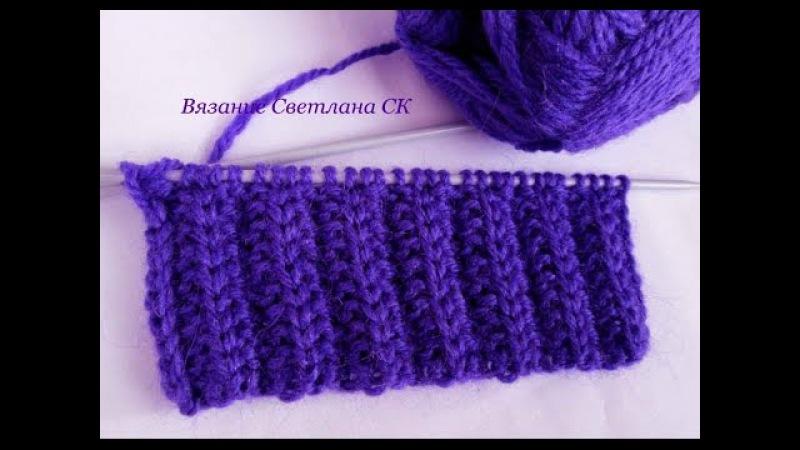 Узор спицами двухсторонний для шарфа