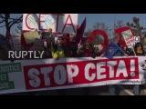 Франция Анти-КЭТС марш Европарламента, как торговая сделка получает зелёный свет.