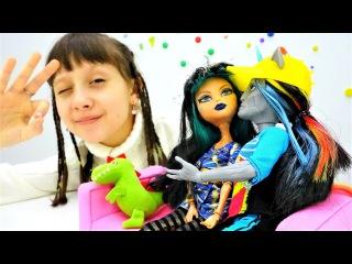 #Супер игры для девочек с куклами МОНСТЕР ХАЙ. Monster High готовят пирожное из Плей ДО...