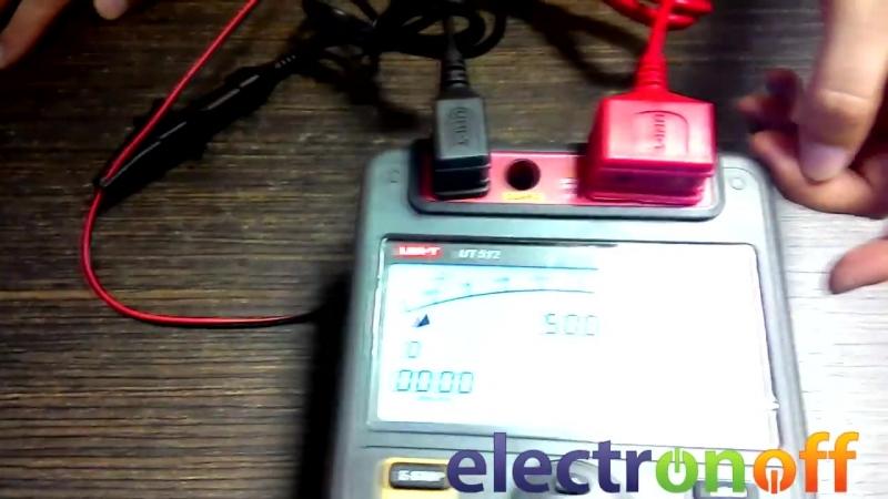 Мегаомметр UT512 UNI-T. Как измерить сопротивление изоляции кабеля. Видео от Electronoff.