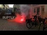 Франция Полиция раскрутили слезоточивый газ в Нанте анти-Национальной Фронт демо.